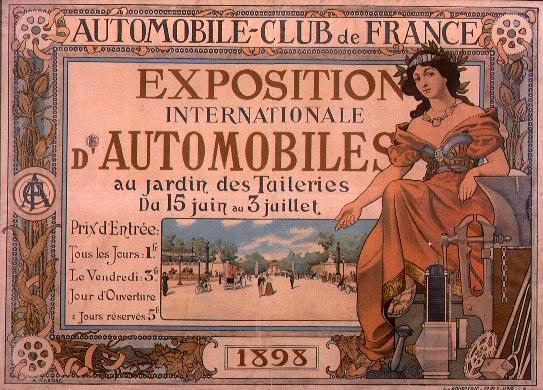 affiche du premier salon de l'automobile du monde, qui a eu lieu à Paris en 1898
