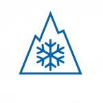 logo pneu hiver 3PMSF représentant un flocon sur un fond de montagne