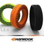 3 pneus hankook iflex vert, orange et noir
